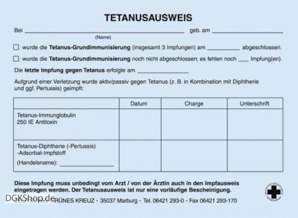 Deutsches Grunes Kreuz 200 Tetanusausweise
